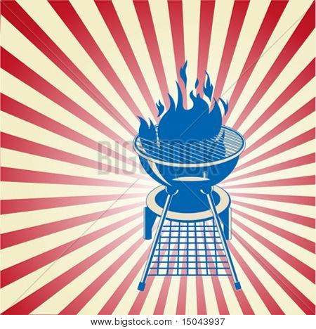 Patriotic radial barbeque background with place for your text
