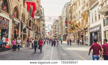 ISTANBUL TURKEY - SEPTEMBER 10 2016: Street and city life of Istanbul.