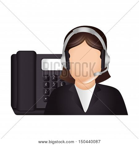 avatar woman with headset and telephone icon. call center and customer support. colorful design. vector illustration