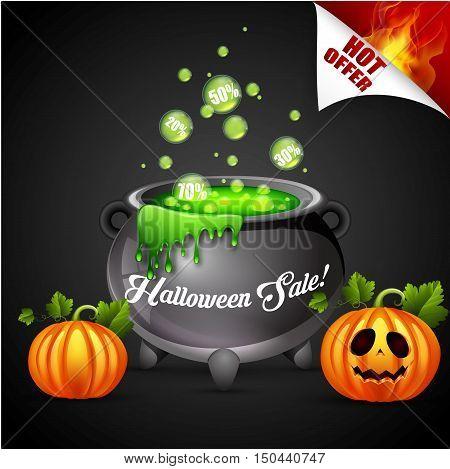 Vector illustration of Halloween sale on poison pot