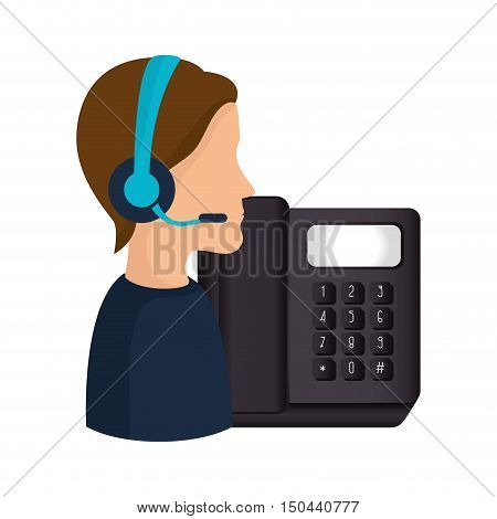 avatar man with headset and telephone icon. call center and customer support. colorful design. vector illustration
