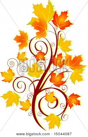 Decorative swirling autumn design