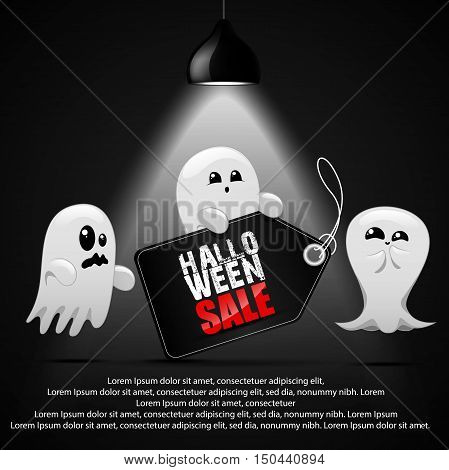 Vector illustration of Halloween sale with ghost child
