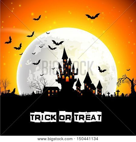 Vector illustration of Halloween scary castle on full moon background