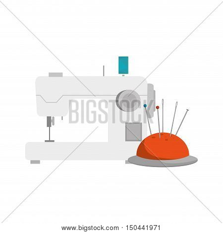 pincushion with pins and needles and sewing machine  icon. colorful design. vector illustration