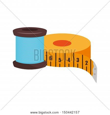 spool of thread and yellow tape measurement icon. vector illustration