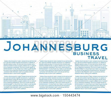 Outline Johannesburg Skyline with Blue Buildings and Copy Space. Business Travel and Tourism Concept with Johannesburg Modern Buildings. Image for Presentation and Banner.
