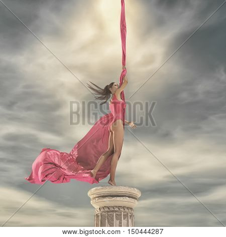 Young beautiful girl stands up on a column in gymnast suit. This is a 3d render illustration
