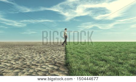 Man goes from a dry field to a bloomed field with grass. This is a 3d render illustration