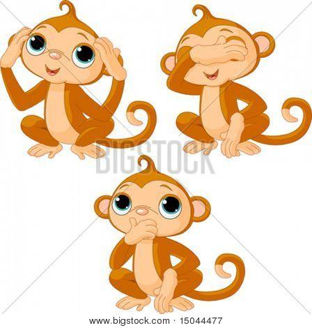 Three little monkeys. See no evil, speak no evil, hear no evil