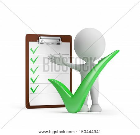 3d man with a positive symbol - the green check mark. 3d image. White background.