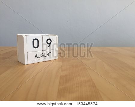 August 9Th.august 9 White Wooden Calendar On Wood Background.summer Day.copyspace For Text.