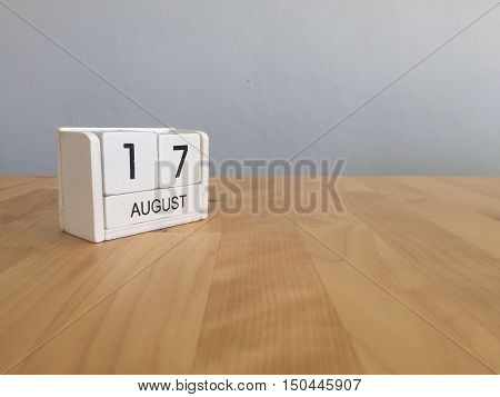 August 17Th.august 17 White Wooden Calendar On Wood Background.summer Day.copyspace For Text.