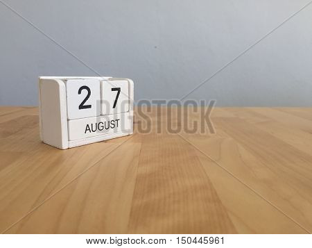 August 27Th.august 27 White Wooden Calendar On Wood Background.summer Day.copyspace For Text.