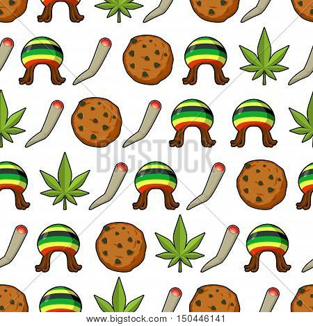 Rasta Icons Seamless Pattern. Green Leaf Of Marijuana And Cookie. Rastafarian Hat And Joint Or Splif