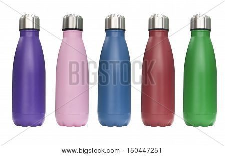 Stainless steel travel tumbler colour purple pink blue red and green Size portable isolated on white background Clipping path included.
