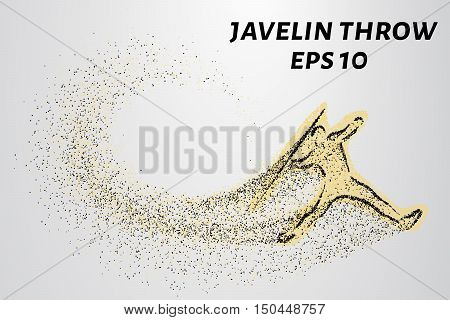 Javelin of particles. Silhouette of javelin consists of small circles.