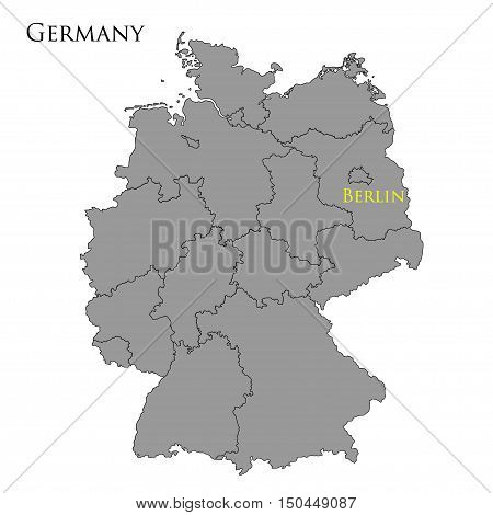 Contour map of Germany on white background. Vector illustration