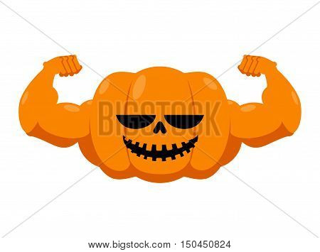 Pumpkin With Muscles. Fitness Halloween. Vegetable With Large Hands. Powerful Fruit Bodybuilding. Ve