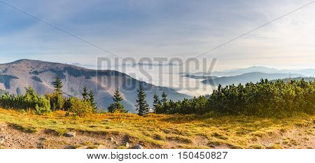 Panoramic View Of Fall Weather Inversion In Mountains