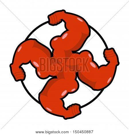 Logo For Aggressive Fighters. Hands Bodybuilder. Sign For Invasive Radicals. Symbol For Hooligans Sp