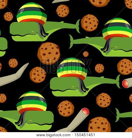 Rasta Whale And Cookies Seamless Pattern. Large Marine Animals In Rastafarian Hat Ornament. Long Bla