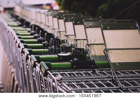 Beaconsfield, England - June 2016: Waitrose Shopping Trollies Outside Store In Beaconsfield Vintage