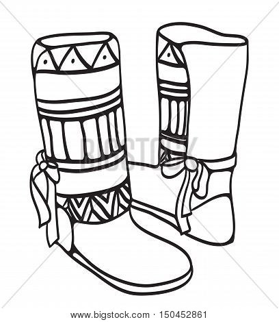 Doodle illustration of winter shoes with ethno pattern