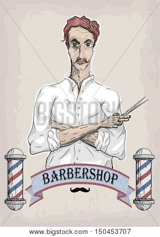 Man male human hairdresser barber coiffeur haircutter in white shirt with foxy hair folded hands pair of scissors. Vector vertical closeup front view beautiful signboard barbershop barber's salon