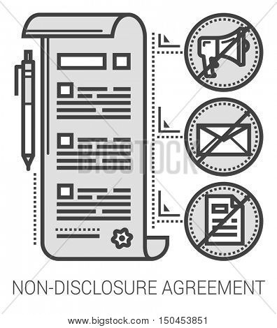 Non-disclosure agreement infographic metaphor with line icons. Non-disclosure project agreement concept for website and infographics. Vector line art icon isolated on white background.