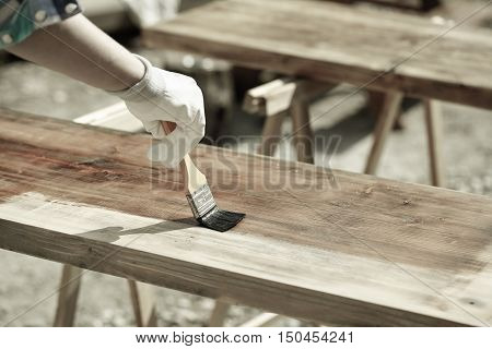 Painting wood with wood protection paint for weathering fungus and insects on sawhorses. Outdoor protection carpentry hard at work home improvement do-it-yourself concept.