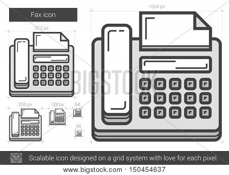 Fax vector line icon isolated on white background. Fax line icon for infographic, website or app. Scalable icon designed on a grid system.