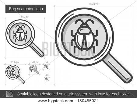 Bug searching vector line icon isolated on white background. Bug searching line icon for infographic, website or app. Scalable icon designed on a grid system.