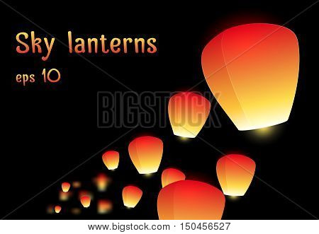 Illustration of a flying sky lanterns for your creativity