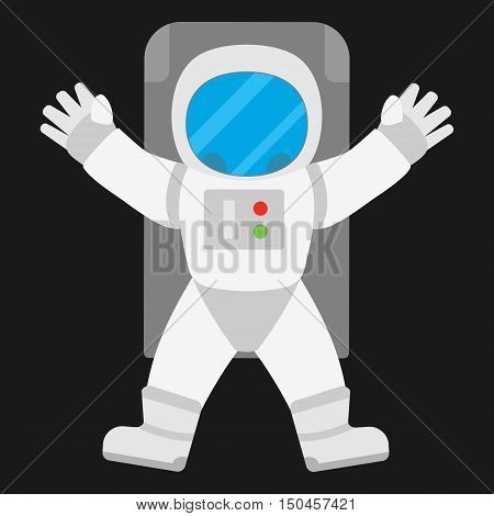 Spaceman astronaut in outer space. Vector illustration of space man in angel pose on black background.