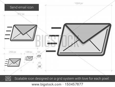 Send email vector line icon isolated on white background. Send email line icon for infographic, website or app. Scalable icon designed on a grid system.