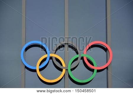 LAUSANNE SEPTEMBER, 19: Olympic rings at Olympic museum in Switzerland in September 19, 2016. The symbol of the Olympic Games was originally designed in 1912 by Baron Pierre de Coubertin.