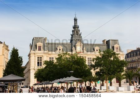 Poitiers France - September 12 2016: Town Hall Hotel de Ville in Poitiers France
