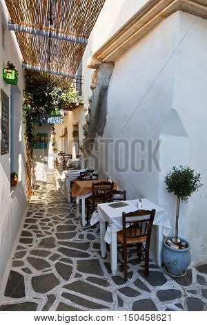 NAXOS, GREECE - SEPTEMBER 22, 2016: Restaurant in the old town of Naxos on September 22, 2016.