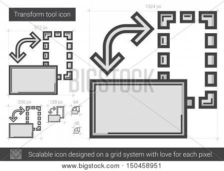 Transform tool vector line icon isolated on white background. Transform tool line icon for infographic, website or app. Scalable icon designed on a grid system.
