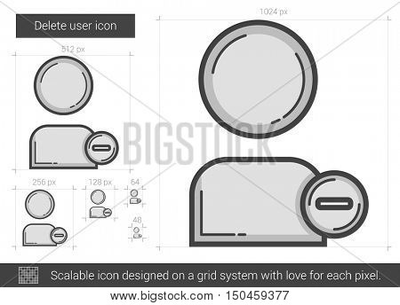 Delete user vector line icon isolated on white background. Delete user line icon for infographic, website or app. Scalable icon designed on a grid system.