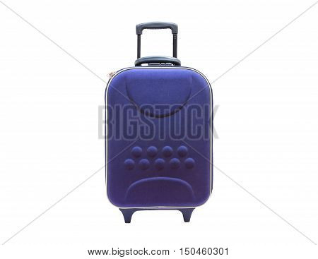 blue suitcases isolated on white background with clipping path