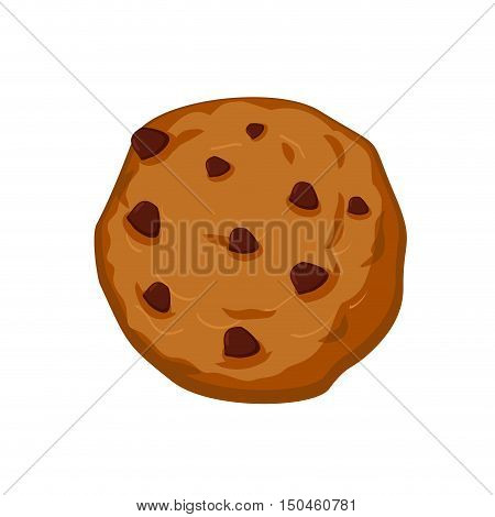 Cookies With Chocolate Drops Isolated. Sweets On White Background. Oat Cookie