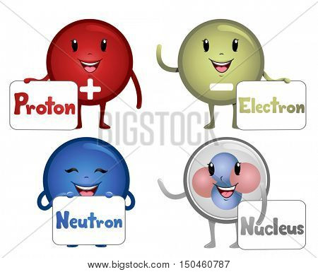 Colorful Illustration Featuring Happy Atomic Particle Mascots Carrying Boards Bearing Their Names