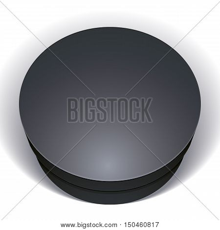 Vector blank black round box isolated on white background template for your package design put your image over the pack in multiply mode