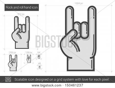 Rock and roll hand vector line icon isolated on white background. Rock and roll hand line icon for infographic, website or app. Scalable icon designed on a grid system.