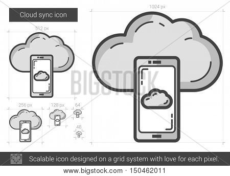Cloud sync vector line icon isolated on white background. Cloud sync line icon for infographic, website or app. Scalable icon designed on a grid system.