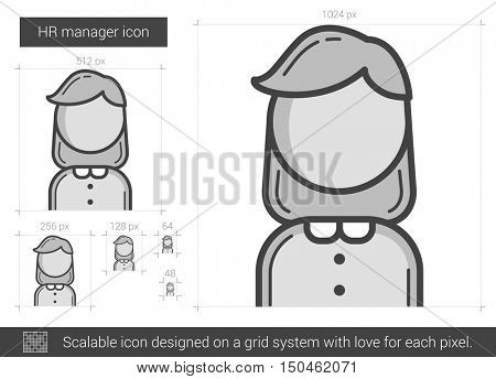 HR manager vector line icon isolated on white background. HR manager line icon for infographic, website or app. Scalable icon designed on a grid system.