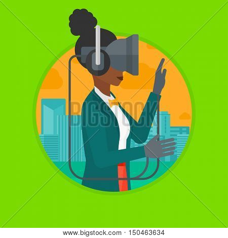 African-american woman wearing virtual reality headset. Woman playing video games on a city background. Woman wearing gamer gloves. Vector flat design illustration in the circle isolated on background