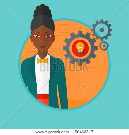 An african-american woman having a business idea. Successful business idea concept. Business woman with business idea bulb in gear. Vector flat design illustration in the circle isolated on background